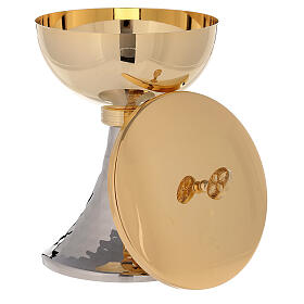 Chalice and ciborium gold plated brass and hammered base s5
