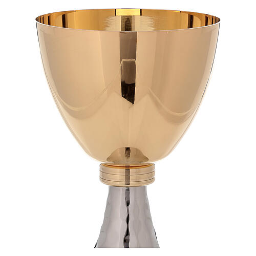Chalice and ciborium gold plated brass and hammered base 3