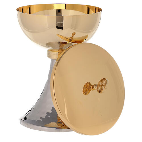Chalice and ciborium gold plated brass and hammered base 5