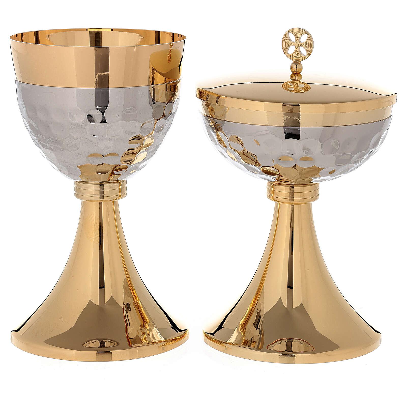 Cáliz Copón latón dorado 24k base de la copa martillada nudo simple 4