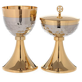 Chalice and ciborium 24-karat gold plated brass hammered cup simple node s2