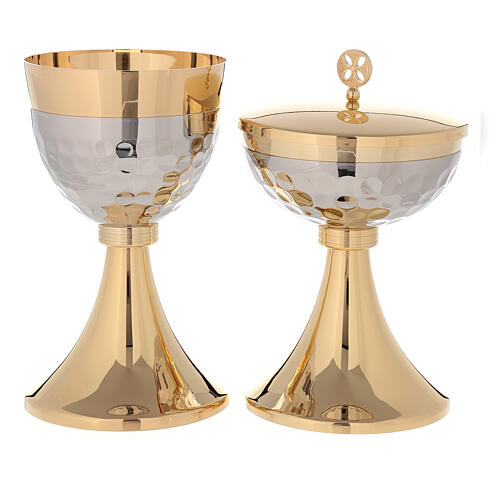 Chalice and ciborium 24-karat gold plated brass hammered cup simple node 1