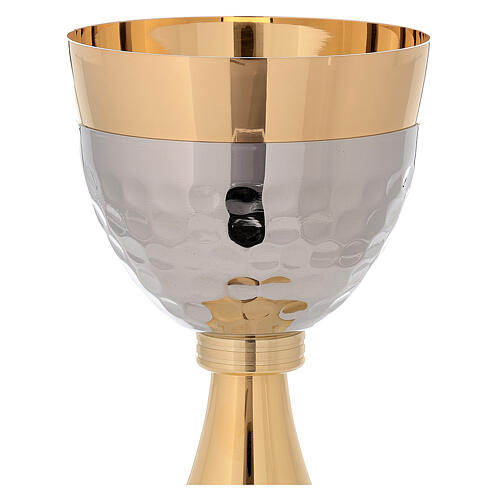 Chalice and ciborium 24-karat gold plated brass hammered cup simple node 4
