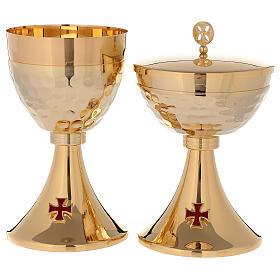 Cáliz Copón latón dorado 24k cruz esmaltada base de la copa martillada s1