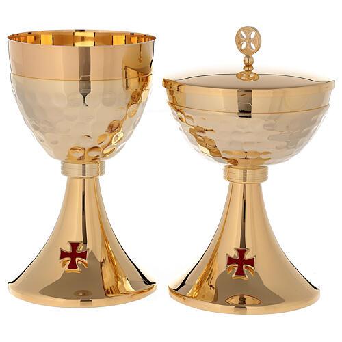 Cáliz Copón latón dorado 24k cruz esmaltada base de la copa martillada 1