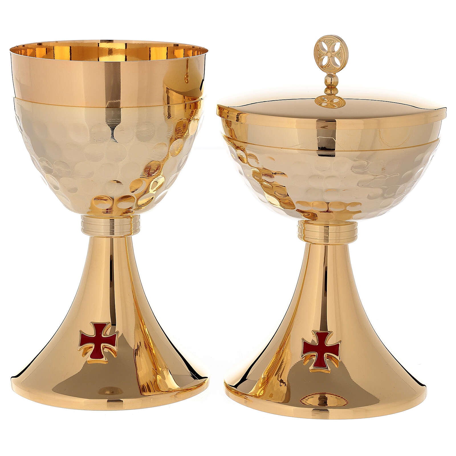 Chalice ciborium 24-karat gold plated brass enamelled cross and hammered cup 4