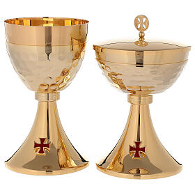 Chalice ciborium 24-karat gold plated brass enamelled cross and hammered cup s1