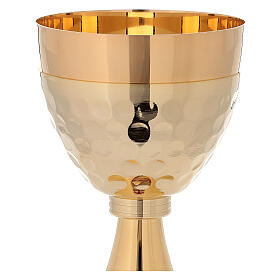 Chalice ciborium 24-karat gold plated brass enamelled cross and hammered cup s4