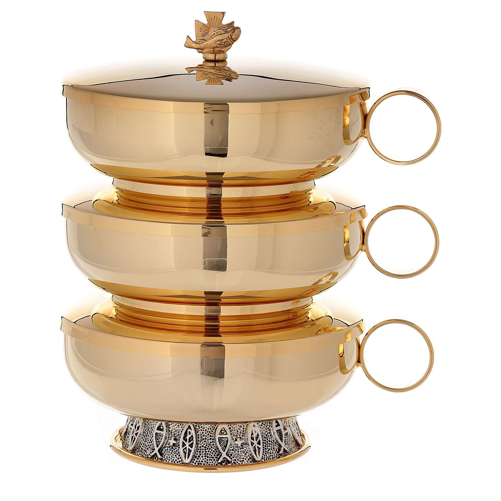 Stacking ciboria set in 24-karat gold plated brass fish pattern base 4
