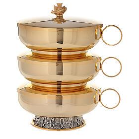 Stacking ciboria set in 24-karat gold plated brass fish pattern base s1