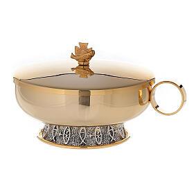 Stacking ciboria set in 24-karat gold plated brass fish pattern base s4