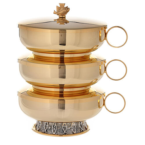 Stacking ciboria set in 24-karat gold plated brass fish pattern base 1