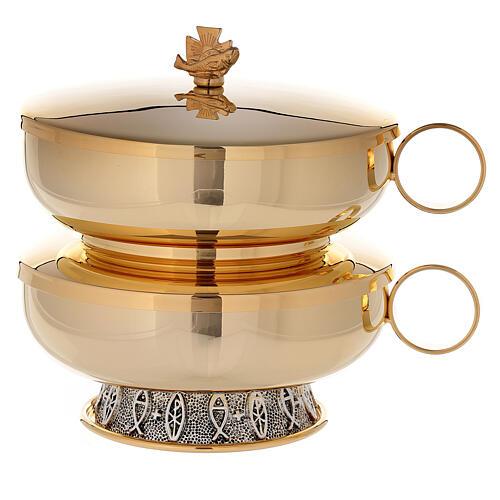 Stacking ciboria set in 24-karat gold plated brass fish pattern base 3