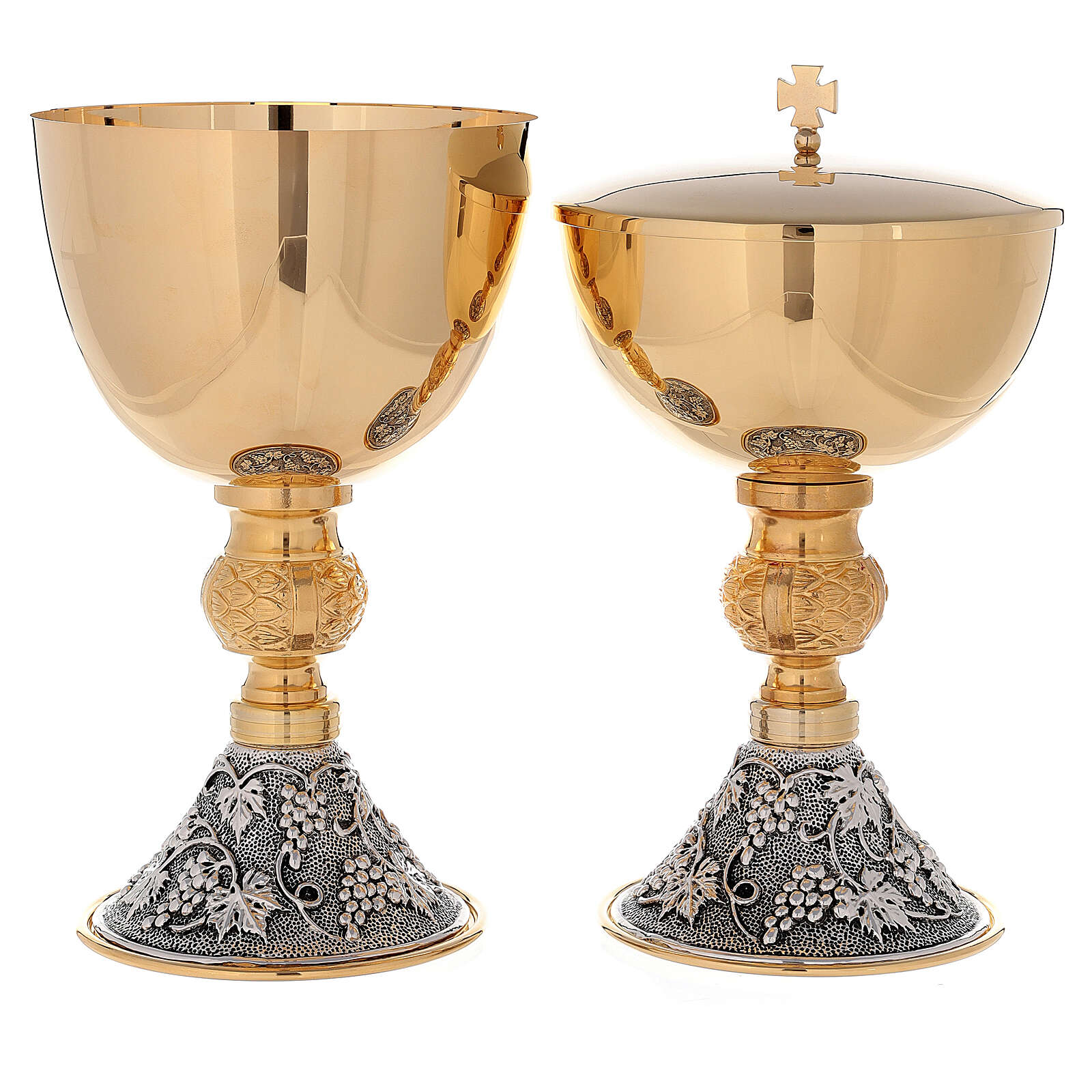 Chalice and ciborium 24-karat gold plated brass on grapes and leaves base 4
