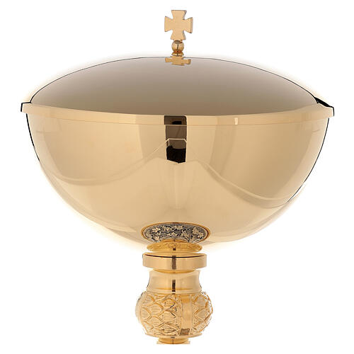 Ciborium 24-karat gold plated brass grapes and leaves base 3