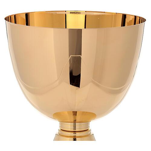 Cáliz concelebración latón dorado 24 k base simple 750 ml 2