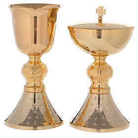 Chalice and ciborium 24-karat gold plated brass with diamond finished base s1
