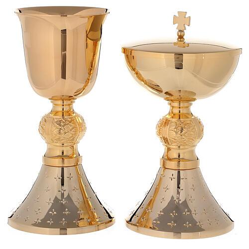 Chalice and ciborium 24-karat gold plated brass with diamond finished base 1