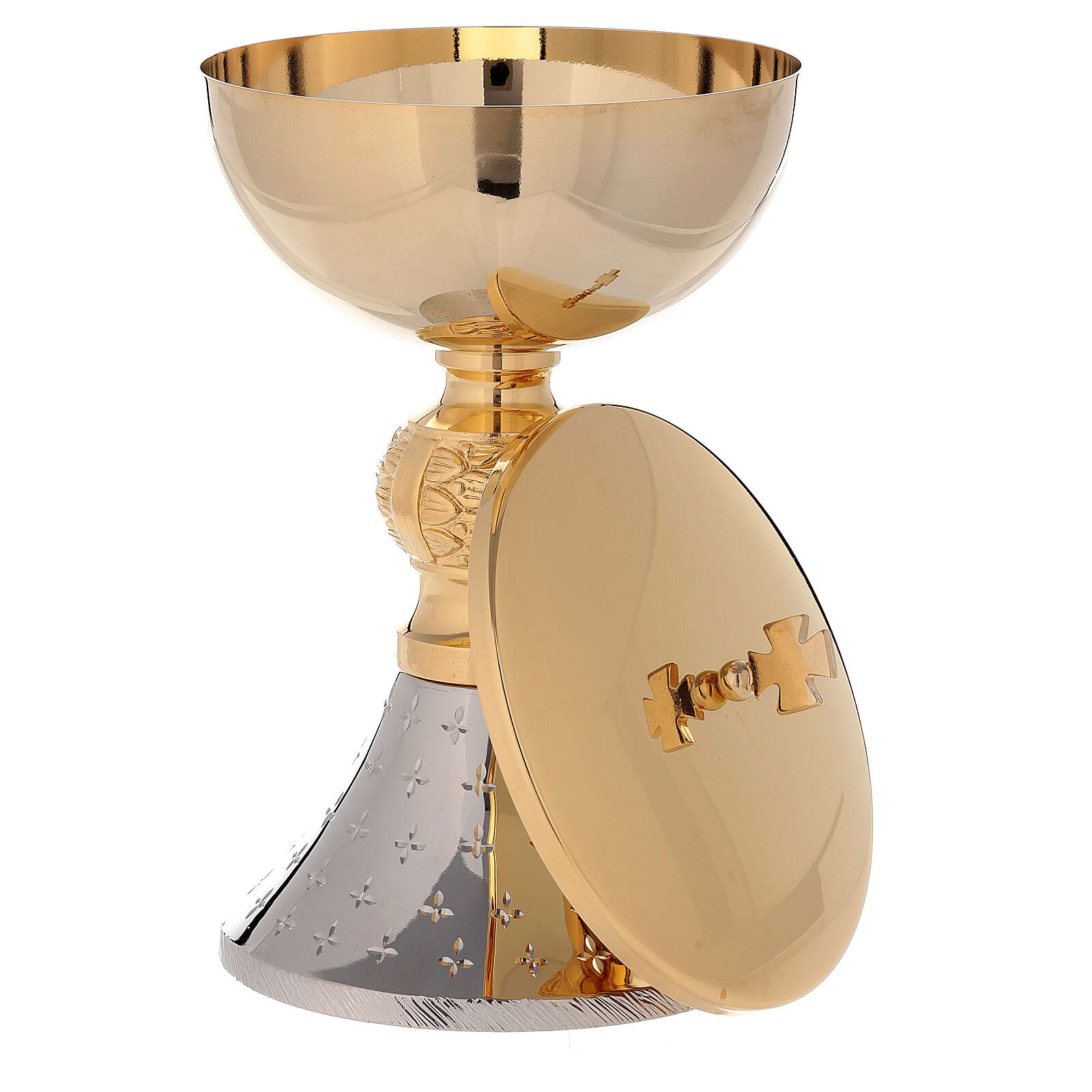 Chalice and ciborium 24-karat bicolored brass with diamond finished base 4
