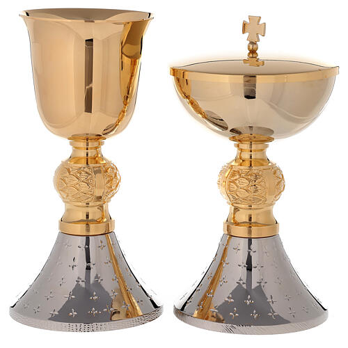 Chalice and ciborium 24-karat bicolored brass with diamond finished base 1