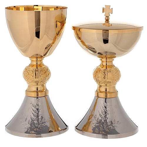 Bicolored chalice and ciborium with diamond finished base leaves pattern 1