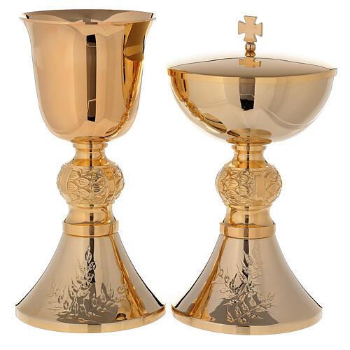 Chalice and ciborium 24-karat gold plated brass with diamond finished base leaves pattern 1