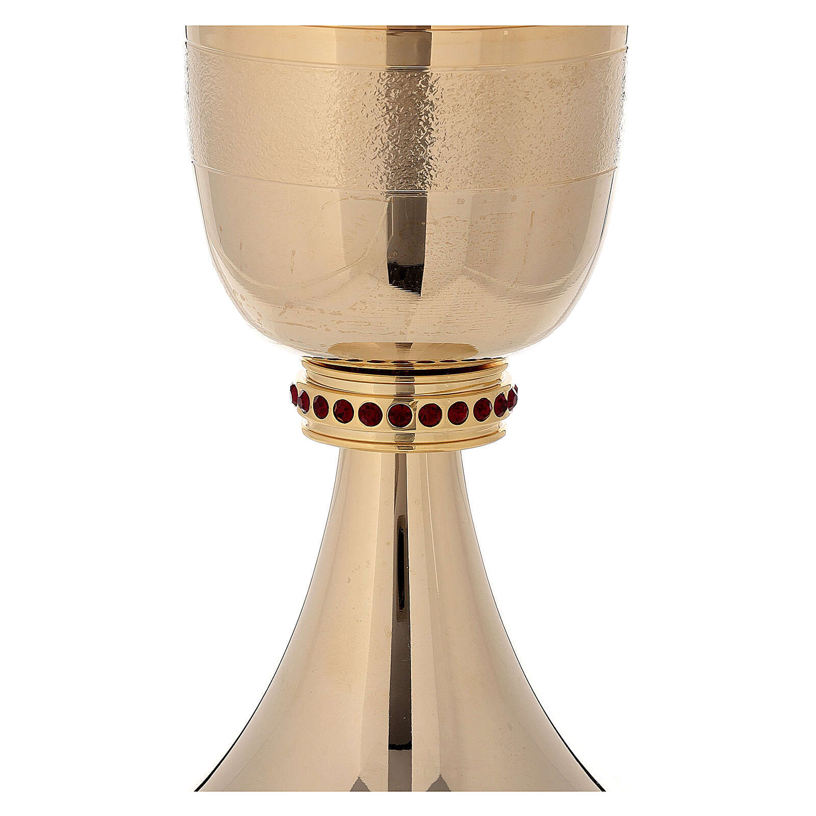 Chalice and ciborium 24-karat gold plated brass red stones and rough finish 4