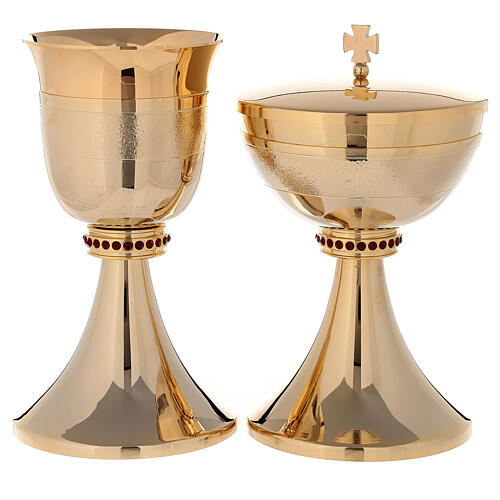 Chalice and ciborium 24-karat gold plated brass red stones and rough finish 1