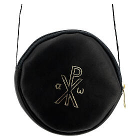 Paten burse 5 in real black leather with Chi-Rho s1