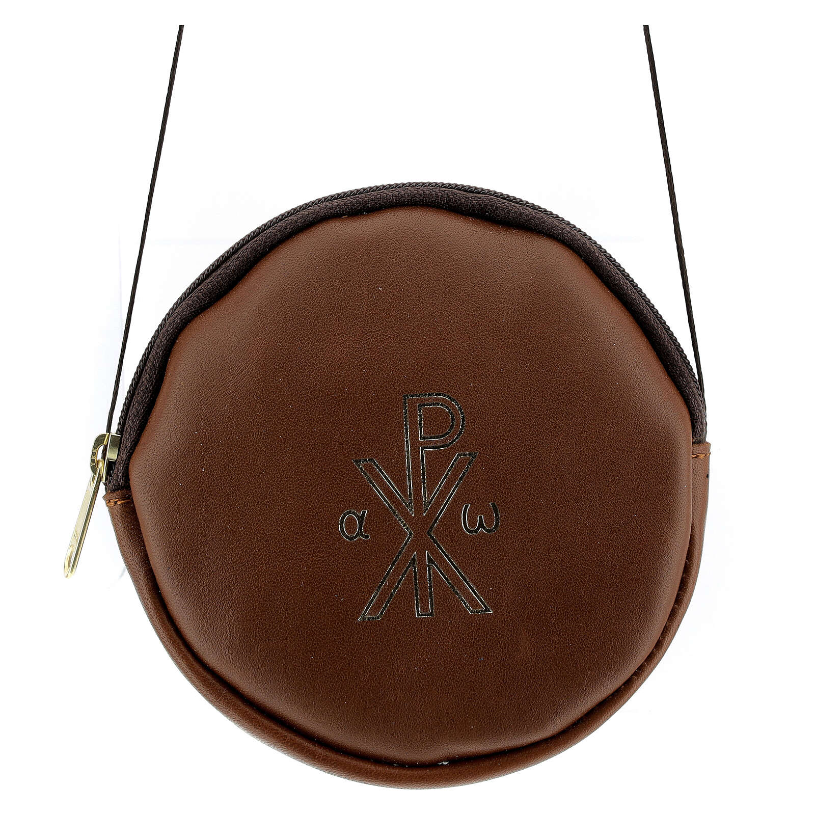 Paten case in real brown leather monogram Christ gold 12 cm 4
