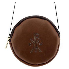 Paten case in real brown leather monogram Christ gold 12 cm s1
