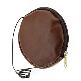 Paten case in real brown leather monogram Christ gold 12 cm s2
