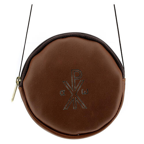 Paten case in real brown leather monogram Christ gold 12 cm 1