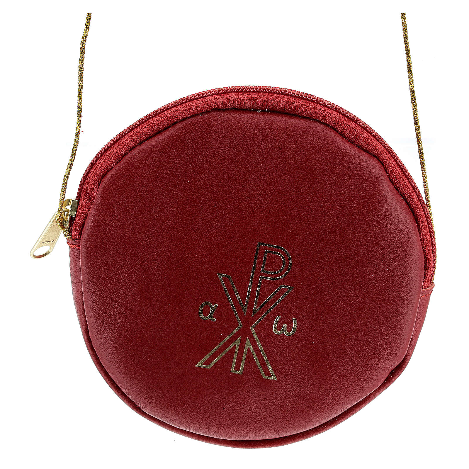 Paten case in real red leather monogram Christ gold 12 cm 4