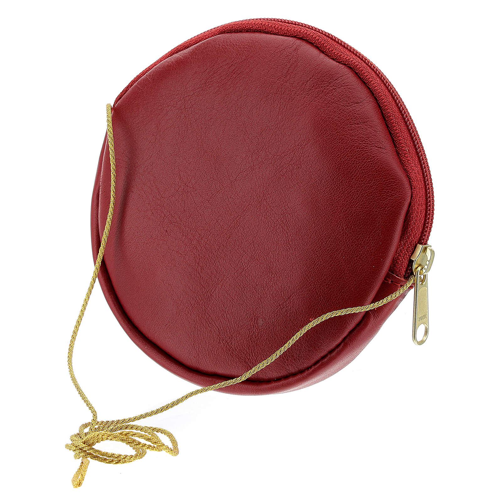 Étui pour patène 12 cm cuir véritable rouge Chi-Rho 4
