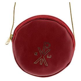 Étui pour patène 12 cm cuir véritable rouge Chi-Rho s1