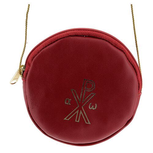Étui pour patène 12 cm cuir véritable rouge Chi-Rho 1