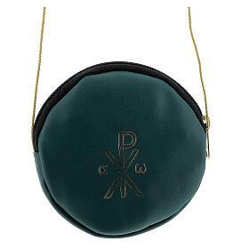 Étui pour patène 12 cm cuir véritable vert Chi-Rho s1