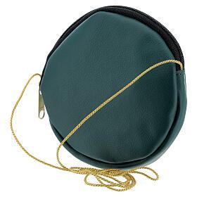 Étui pour patène 12 cm cuir véritable vert Chi-Rho s2