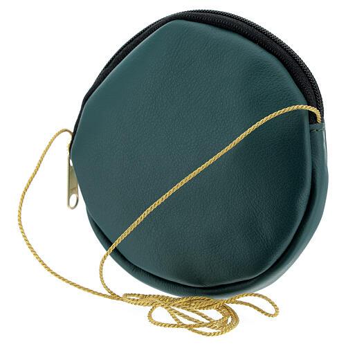 Étui pour patène 12 cm cuir véritable vert Chi-Rho 2