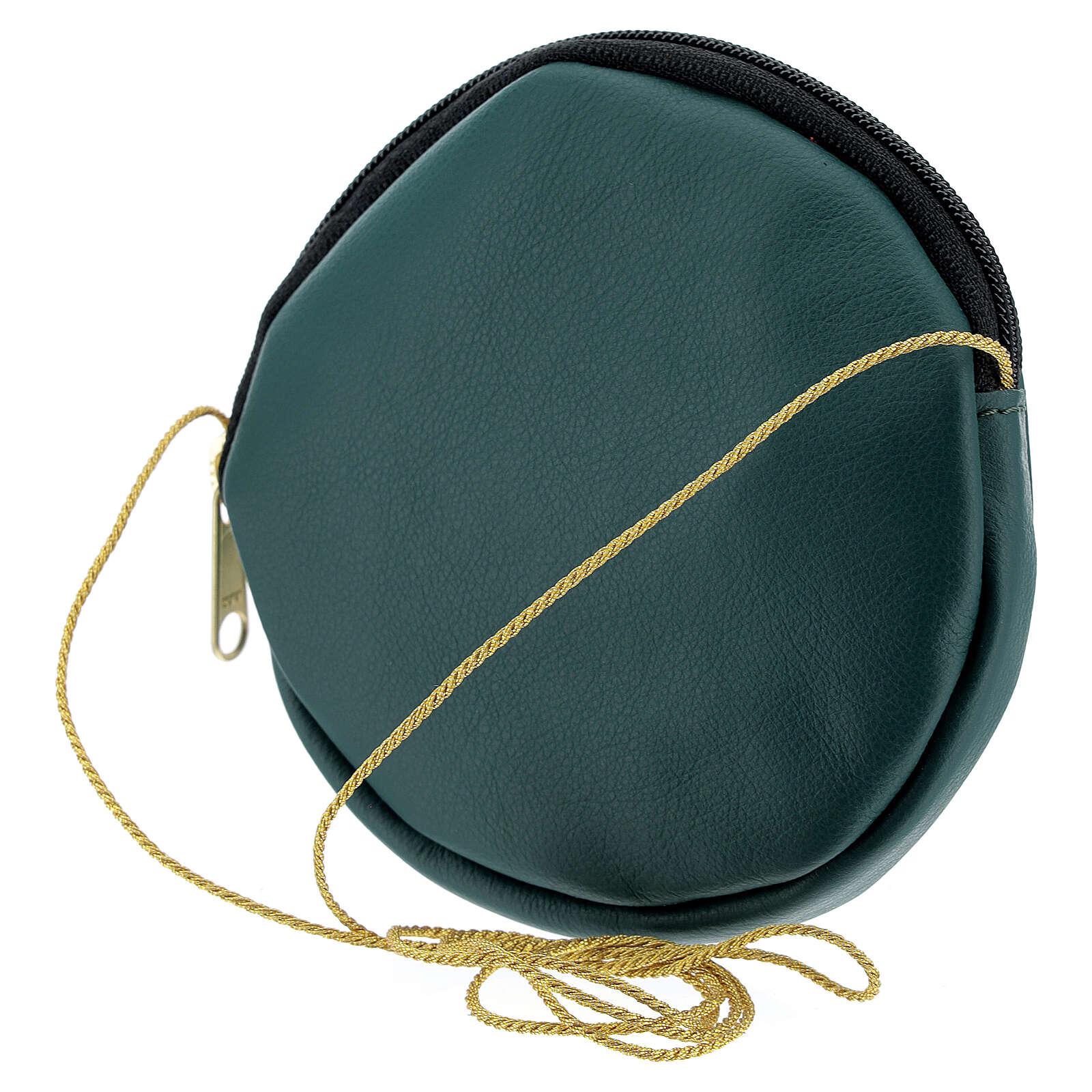 Green leather paten burse golden Chi-Rho 5 in 4