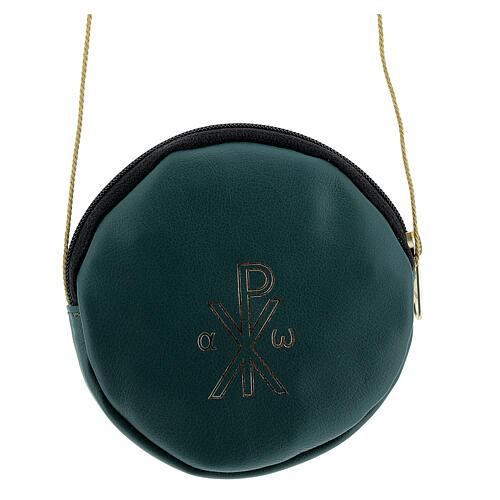 Green leather paten burse golden Chi-Rho 5 in 1