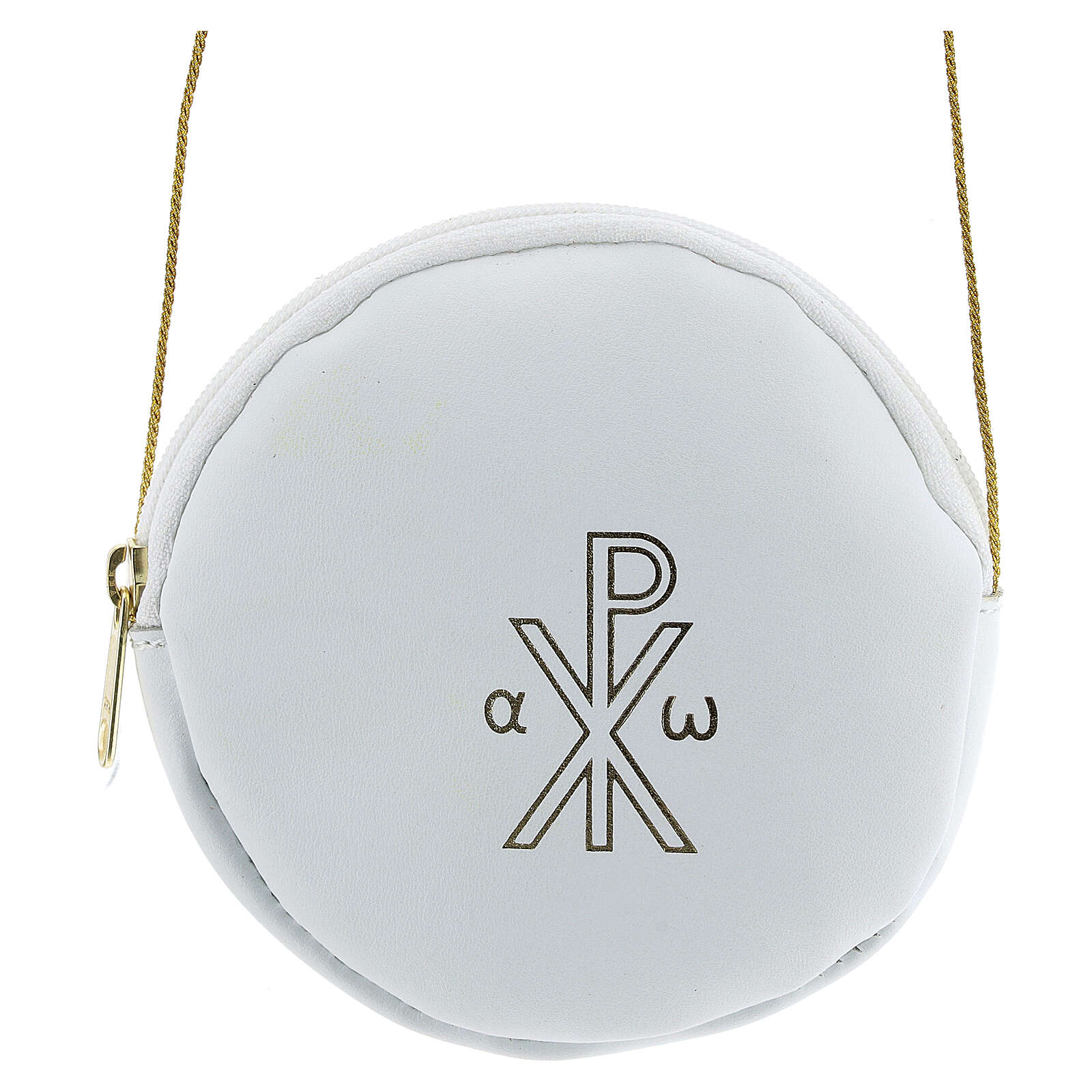 Paten case in real white leather monogram Christ gold 12 cm 4