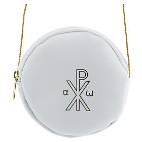 White leather paten burse golden Chi-Rho 5 in s1