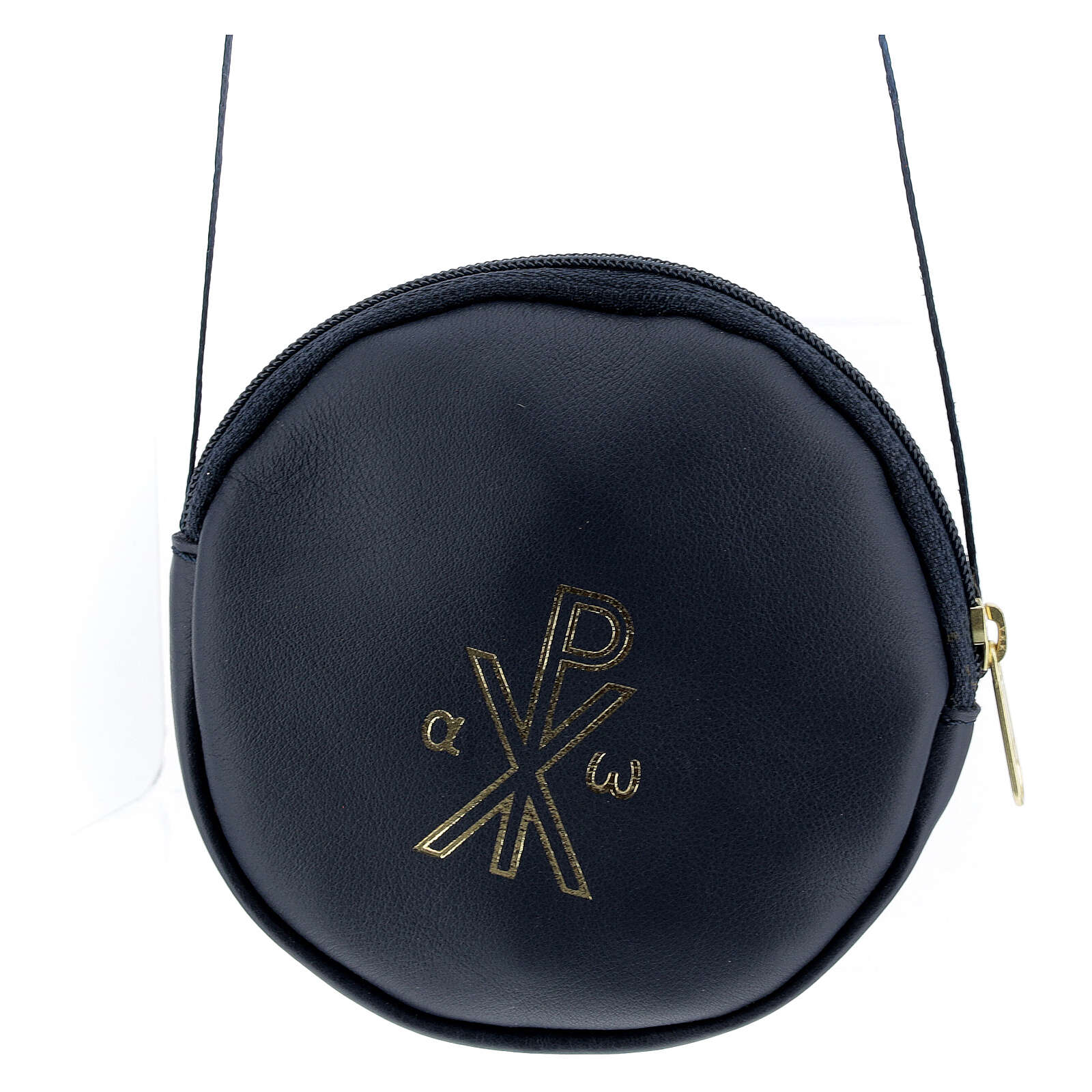 Paten case in real blue leather monogram Christ gold 12 cm 4