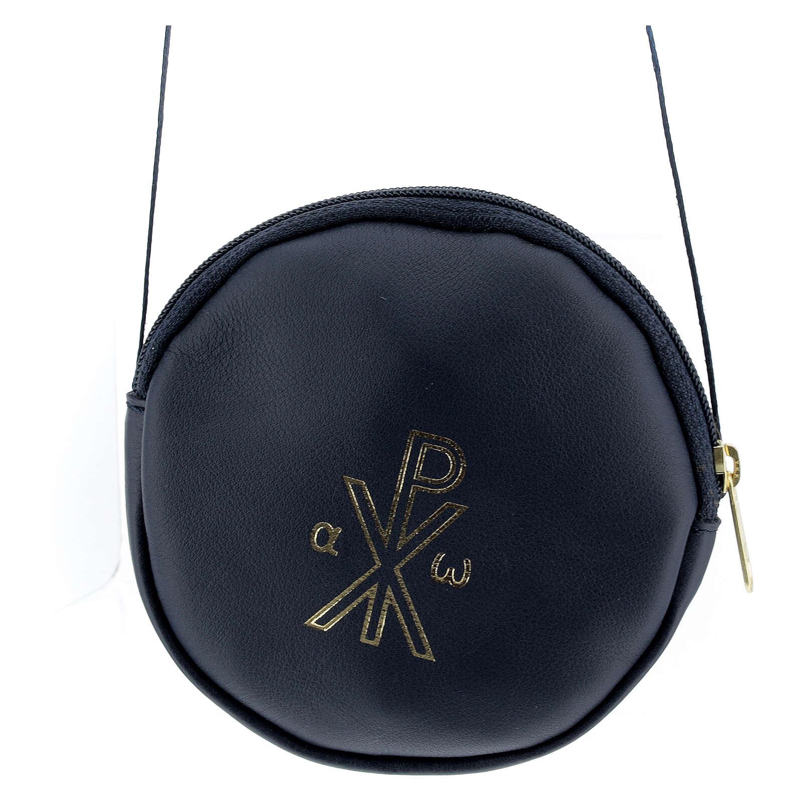 Blue leather paten burse golden Chi-Rho 5 in 4