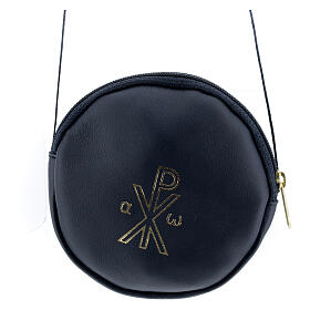 Blue leather paten burse golden Chi-Rho 5 in s1