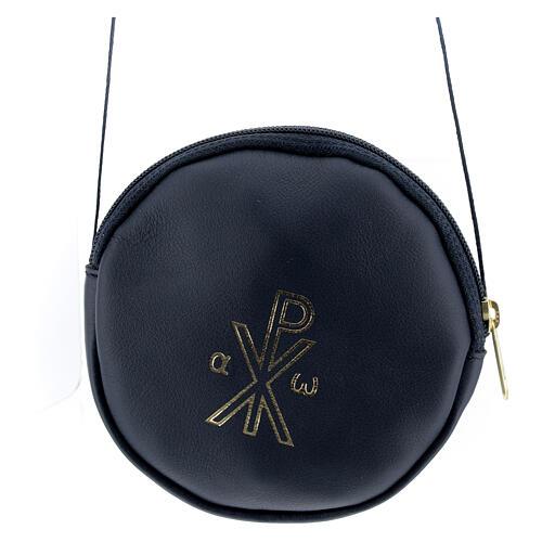 Blue leather paten burse golden Chi-Rho 5 in 1