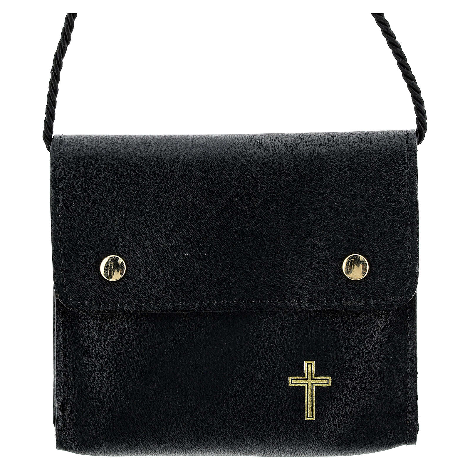 Paten burse 4x5 in real black leather 4