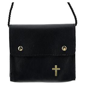 Paten burse 4x5 in real black leather s1